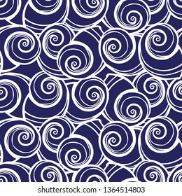 Vector blue spiral seashells repeat pattern. Suitable for gift wrap, textile and wallpaper. Surface pattern design.