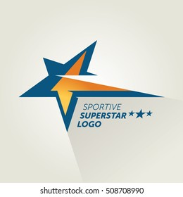 Vector Blue Sportive Star Logotype