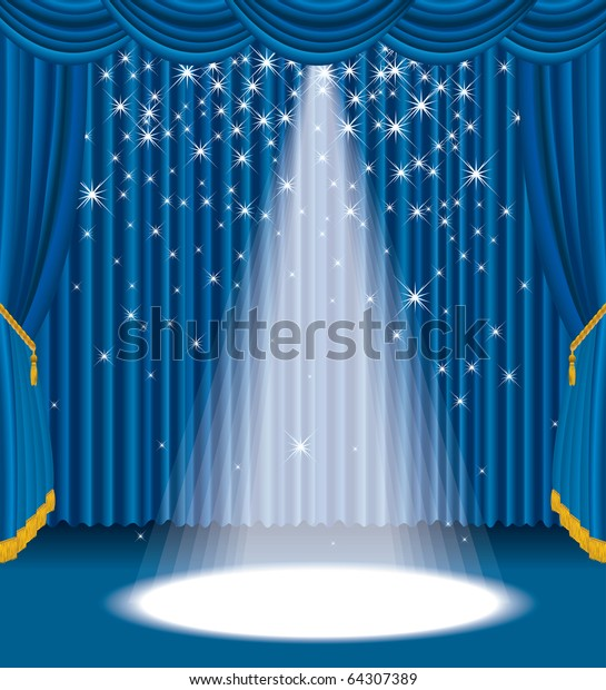 vector blue stage with falling stars, eps 10 file