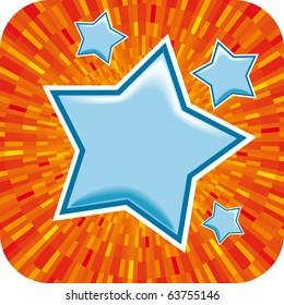 Vector blue star with orange shine background