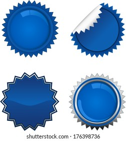vector blue starbursts set 1 - Separate layers for easy editing