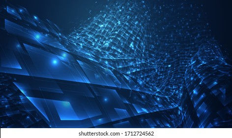 vector blue stream of luminous particles and crystals, virtual data
