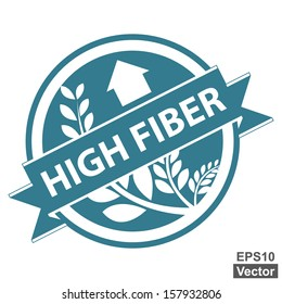 Vector : Blue Tag, Sticker, Label or Badge For Healthy Product or Product Information Present By High Fiber Ribbon With Crop, Cereal or Grain Sign Isolated on White Background