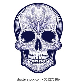 Vector Blue Tattoo Skull Illustration