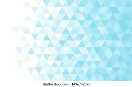 Vector blue triangular mosaic pattern. Abstract geometric polygonal background.