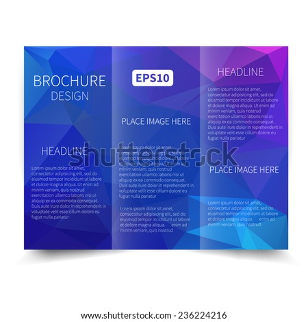vector blue trifold brochure design template stock vector royalty