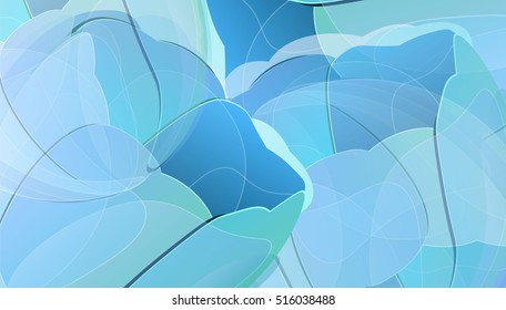 Vector blue tulip flowers color background greeting card. Creative illustration for your banner, invitation or poster design