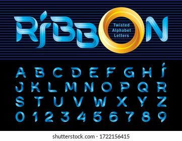 Vector of Blue Twist Ribbons Alphabet Letters and numbers, Modern Origami stylized rounded Lettering, Minimal Fonts set for Celebrate, Decoration Party, Fashion. Funny Entertainment