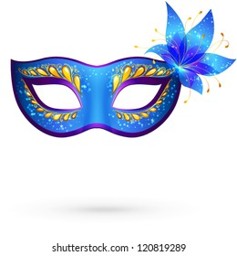 Vector blue venetian carnival mask with flower