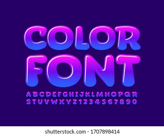Vector Blue and Violet Color Font. Gradient glossy Alphabet Letters and Numbers