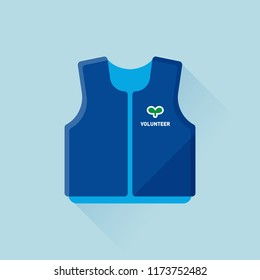 vector blue volunteer vest / public welfare concept / flat, isolated, circle, sign and icon template