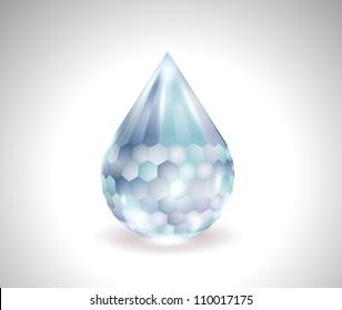 vector blue water drop gemstone
