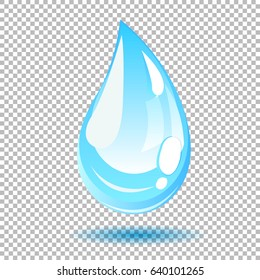 Vector blue water drop. Realistic looking illustration - clear shiny water drop isolated on transparent background