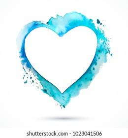 Vector blue watercolor frame. Paint heart. Vintage background. Vector watercolor splash. Love card. Vector Valentines day. Holiday card.