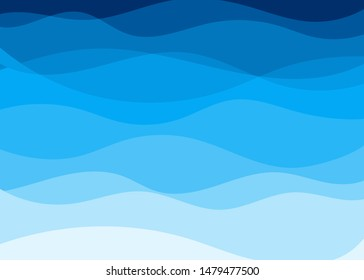 Vector blue wave layer shape zigzag concept abstract background flat design style illustration.