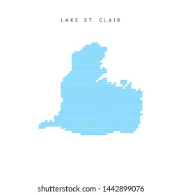 Vector Blue Wave Pattern Map of Lake St. Clair, One of the Lakes of North America. Wavy Line Pattern Silhouette of Lake St. Clair.