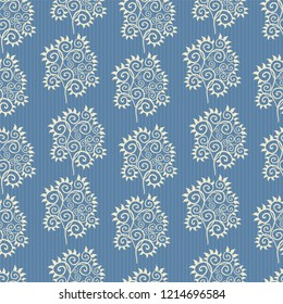 Vector blue and white abstract leaves ornamental design with subtle stripes as seamless pattern background. Perfect for fabric, scrapbooking, giftwrap, wall paper projects, stationery.