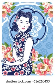 Vector Blue and White Chinese Lady in Retro Style with Peony Flower on Art Nouveau background.