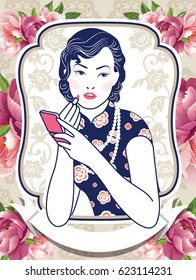 Vector Blue and White Chinese Lady in Retro Style on Peony Flower background.