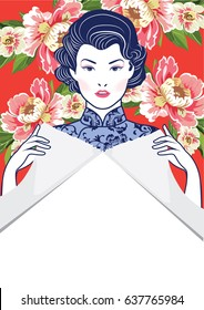 Vector Blue and White Chinese Lady in Retro Style on floral background, hand holding teared paper open space for your copy or text.