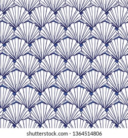 Vector blue and white seashells repeat pattern. Suitable for gift wrap, textile and wallpaper. Surface pattern design.