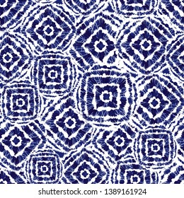 Vector blue and white shibori diamond and squares overlap patten. Suitable for textile, gift wrap and wallpaper. Surface pattern design.