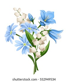 Vector blue and white spring flowers bouquet isolated on a white background.