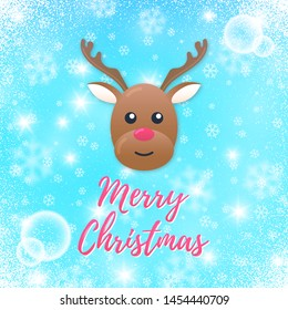 Vector blue winter card with face of deer, coniferous branches, snowflakes and sparkles. Text Merry Christmas. Fairy poster design.