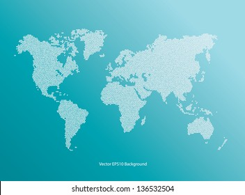 Vector blue World Map dotted