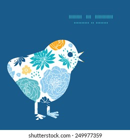 Vector blue and yellow flowersilhouettes chicken silhouette Easter frame