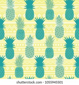Vector blue yellow tribal pineapples vector background seamless repeat pattern. Summer colorful tropical textile print.