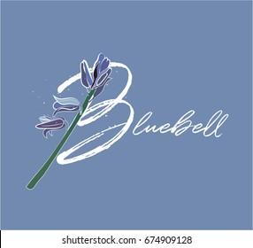 vector bluebell illustration. floral letter. alphabet. blue flower.