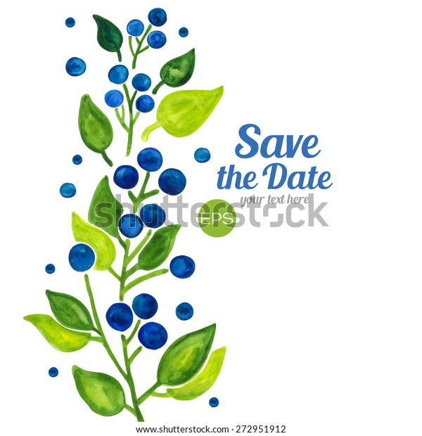 Vector Blueberries Berries Branches Leaves Wreath Stock