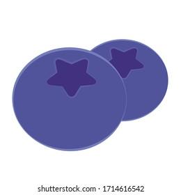 Vector blueberry icon. Flat cartoon illustration.