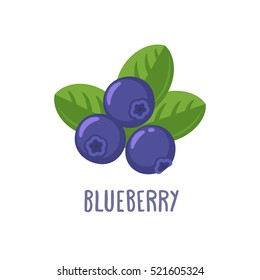 Vector blueberry icon. Flat cartoon illustration