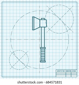 Vector blueprint axe icon on engineer and architect background