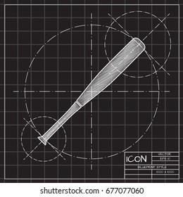 Vector blueprint baseball bat icon on stock photo photo vector vector blueprint baseball bat icon on engineer and architect background malvernweather Image collections