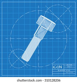 Vector blueprint bolt icon . Engineer and architect background.