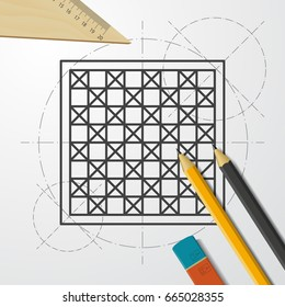 Chess blueprint images stock photos vectors shutterstock vector blueprint checkers board icon on engineer and architect background malvernweather Images
