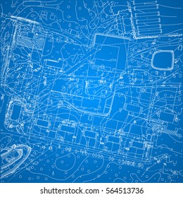 vector blueprint with city plan and topography