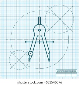 Vector blueprint compasses icon on engineer and architect background