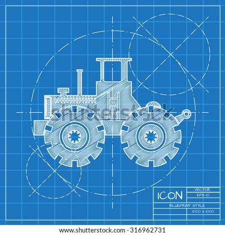 Vector blueprint heavy machine icon on stock vector royalty free vector blueprint heavy machine icon on engineer or architect background malvernweather Images