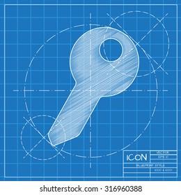 Blueprint keys lock snmky stock fotografie a vektory shutterstock vector blueprint key icon on engineer or architect background malvernweather Images