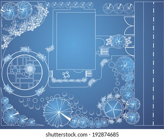 Vector blueprint of landscape architectural project, garden plan with tree symbols