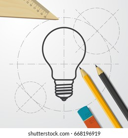 Vector blueprint lightbulb icon on engineer and architect background