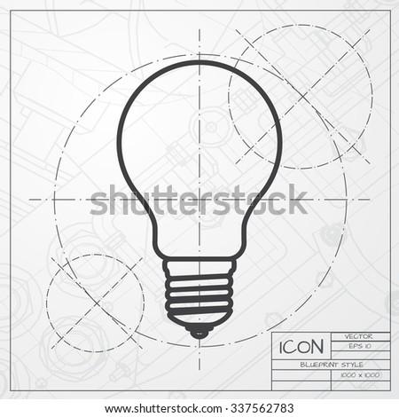 Vector Blueprint Lightbulb Icon On Engineer Stock Vector Royalty