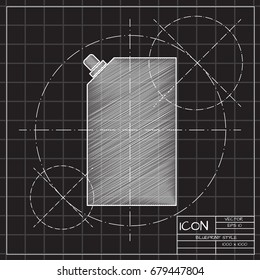 Vector blueprint mayonnaise plastic package icon on engineer and architect background