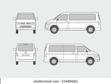 Vector blueprint of passenger minivan