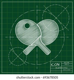 Vector blueprint ping-pong icon on engineer and architect background