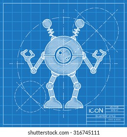 Robot blueprint images stock photos vectors shutterstock vector blueprint retro robot toy icon on engineer or architect background malvernweather Images